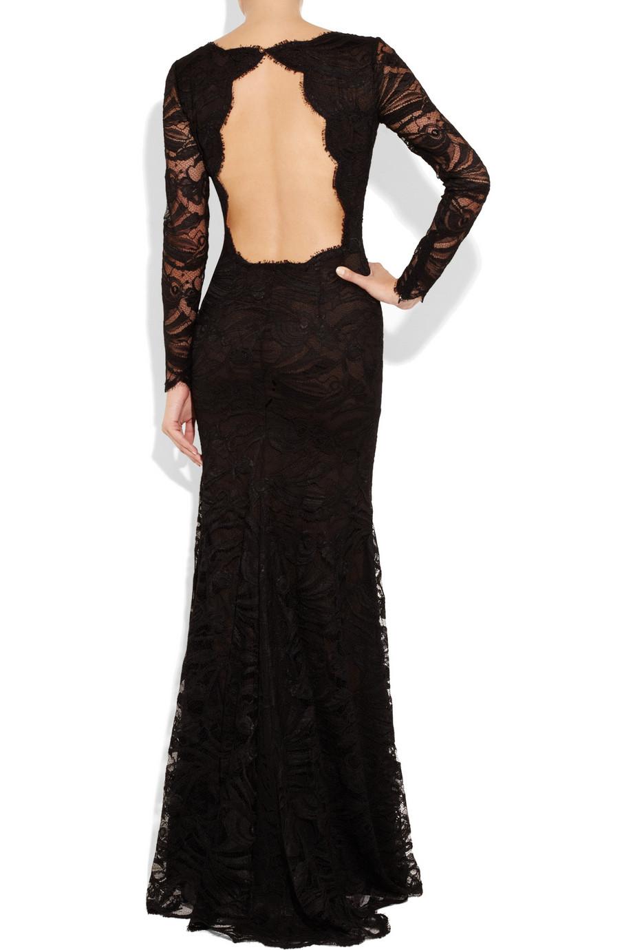 vestido negro manga larga sin espalda