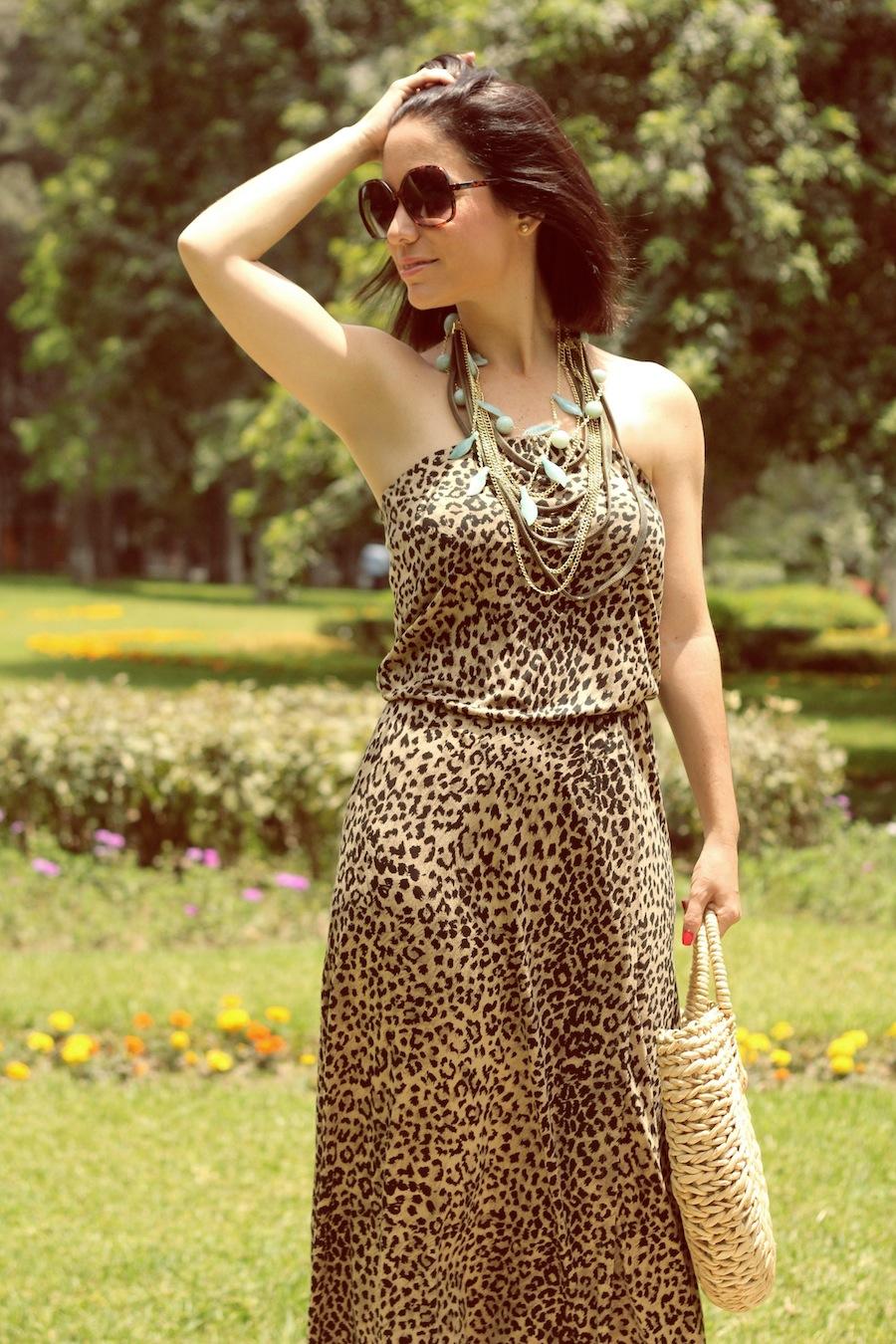 Vestido de leopardo Warehouse