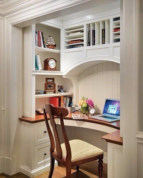 Lunes de decoraci n trabajando en casa c mo decorar un - Built in desk ideas for small spaces image ...