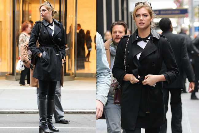 kate upton black trench