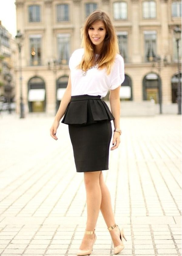 white shirt + black skirt + nude pumps