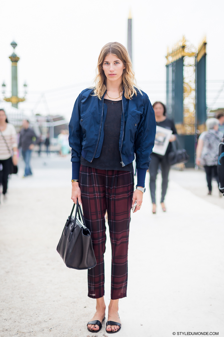 plaid pants street style look