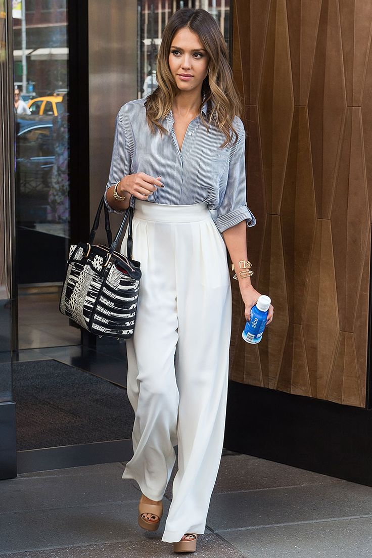 Wide-leg pants trend Fashion Week 2015 Street style jessica alba