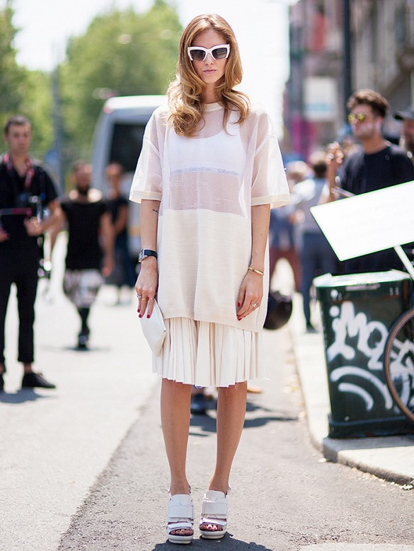 chiara ferragnni pleated skirt