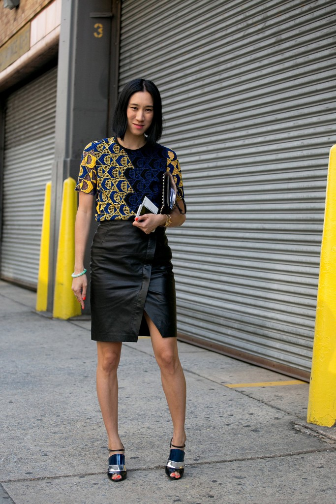 eva chen leather skirt