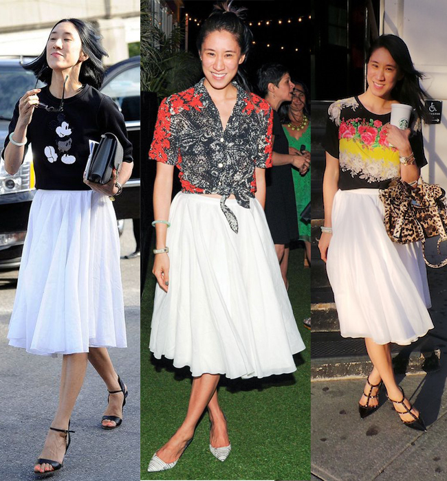 eva chen white midi skirt style