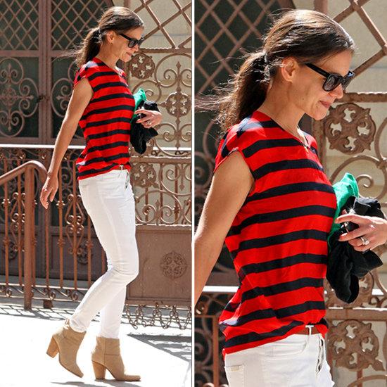 katie holmes striped shirt