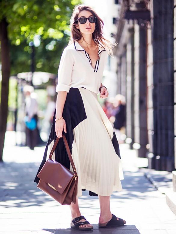 pleated skirt and birkenstocks look
