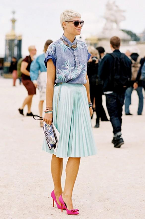 pleated skirt summer look