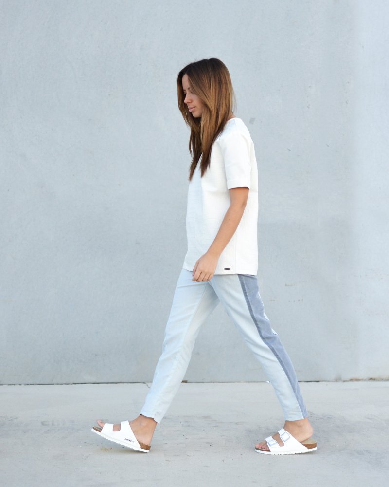 white birkenstocks minimal look