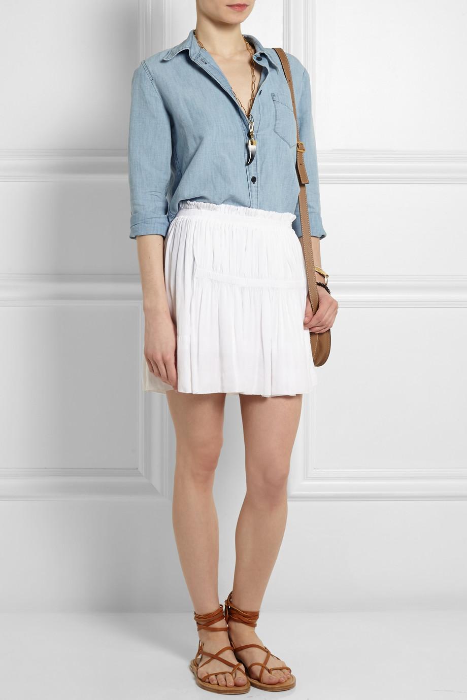 Mini skirt white + camel