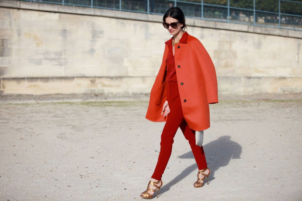 all red look street style