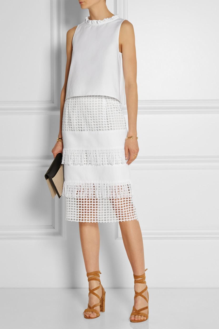 midi skirt white mesh