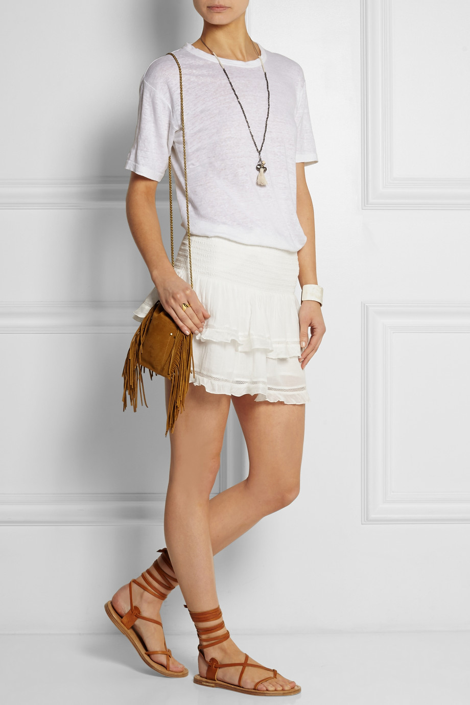 mini skirt white camel fringes bag