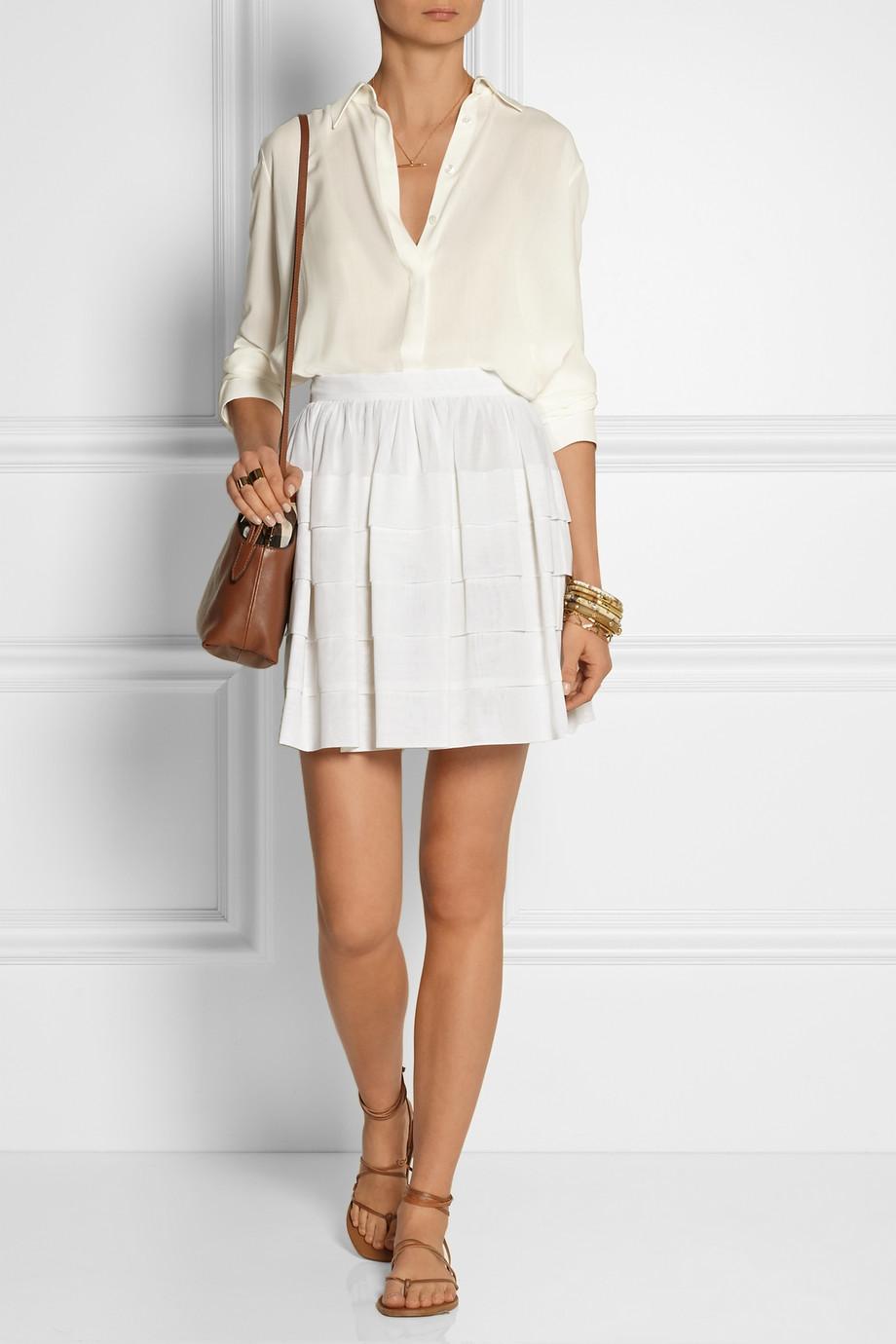 mini skirt white camel