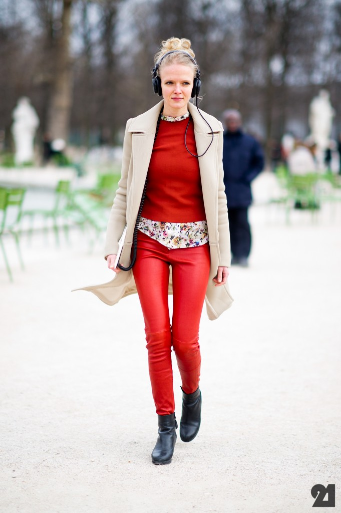 red and nude street style