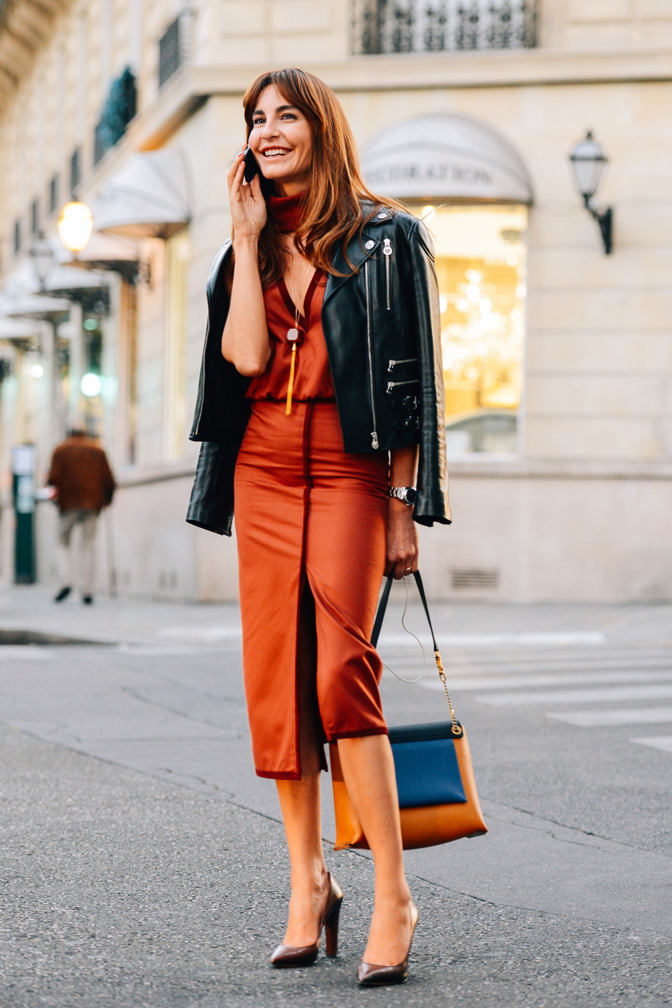 pencil skirt + leather jacket