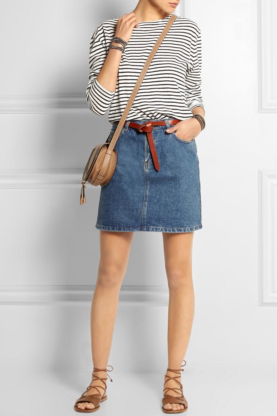 denim skirt and stripes