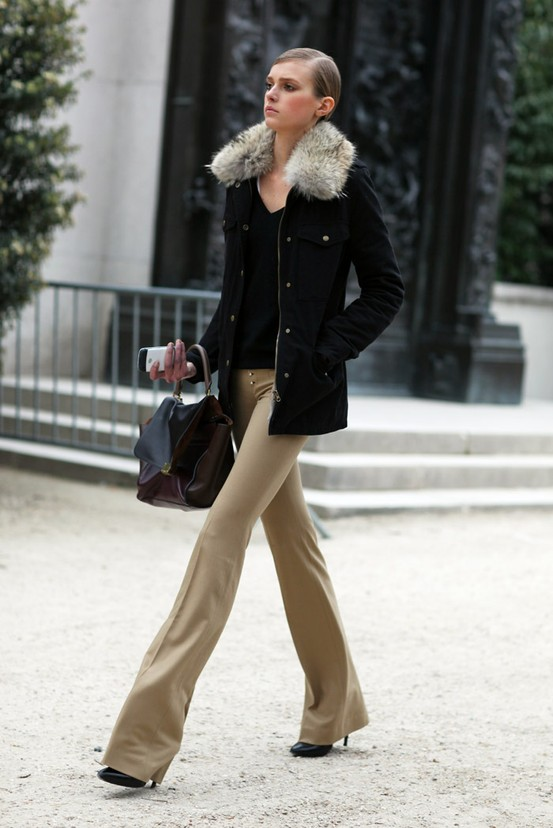 flared pants and parka