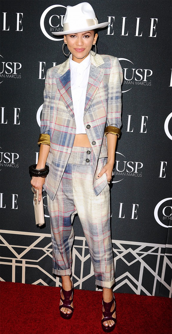 zendaya plaid suit