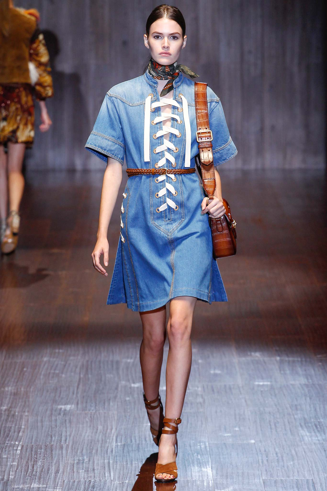 a gucci spring summer 2015 denim dress
