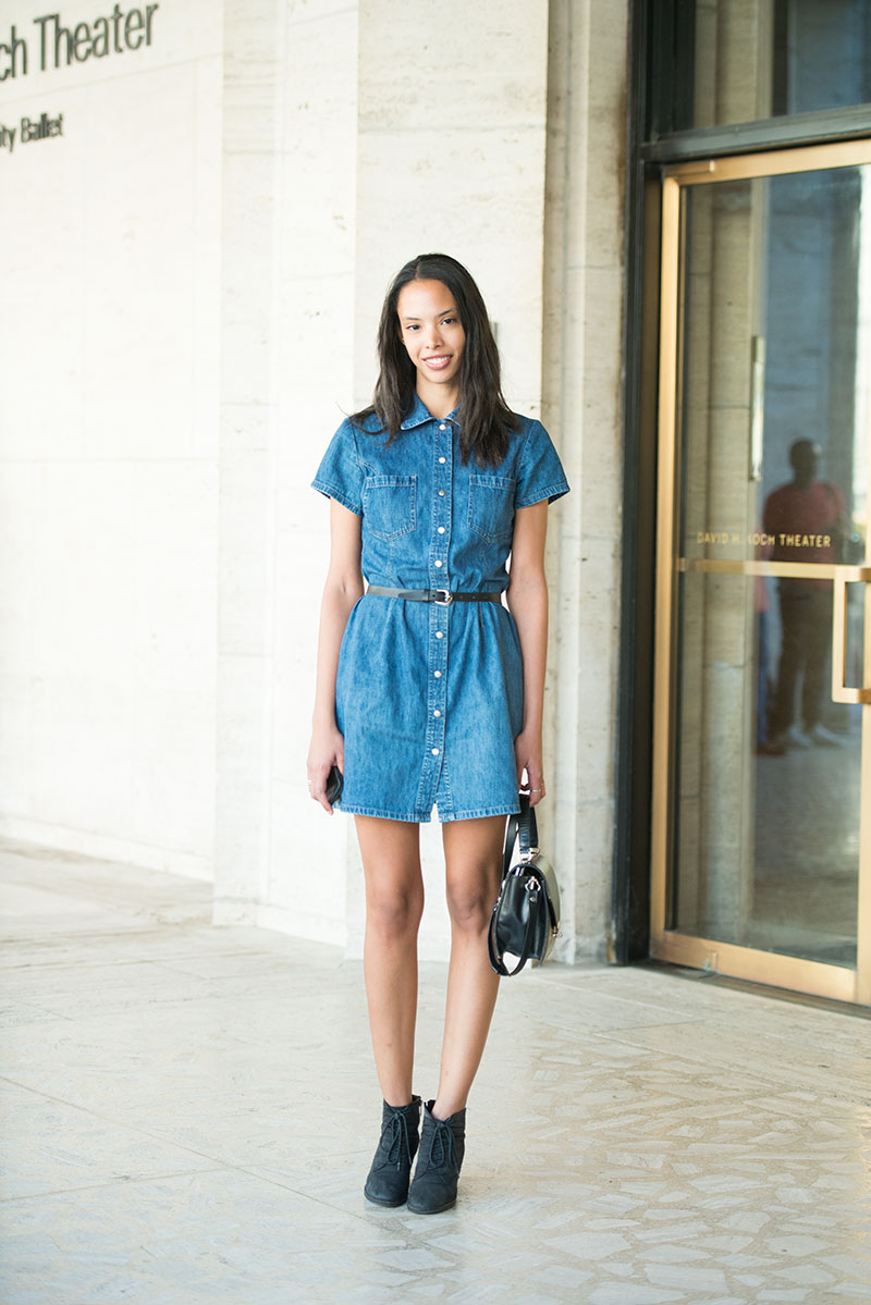 denim dress collar street style 2