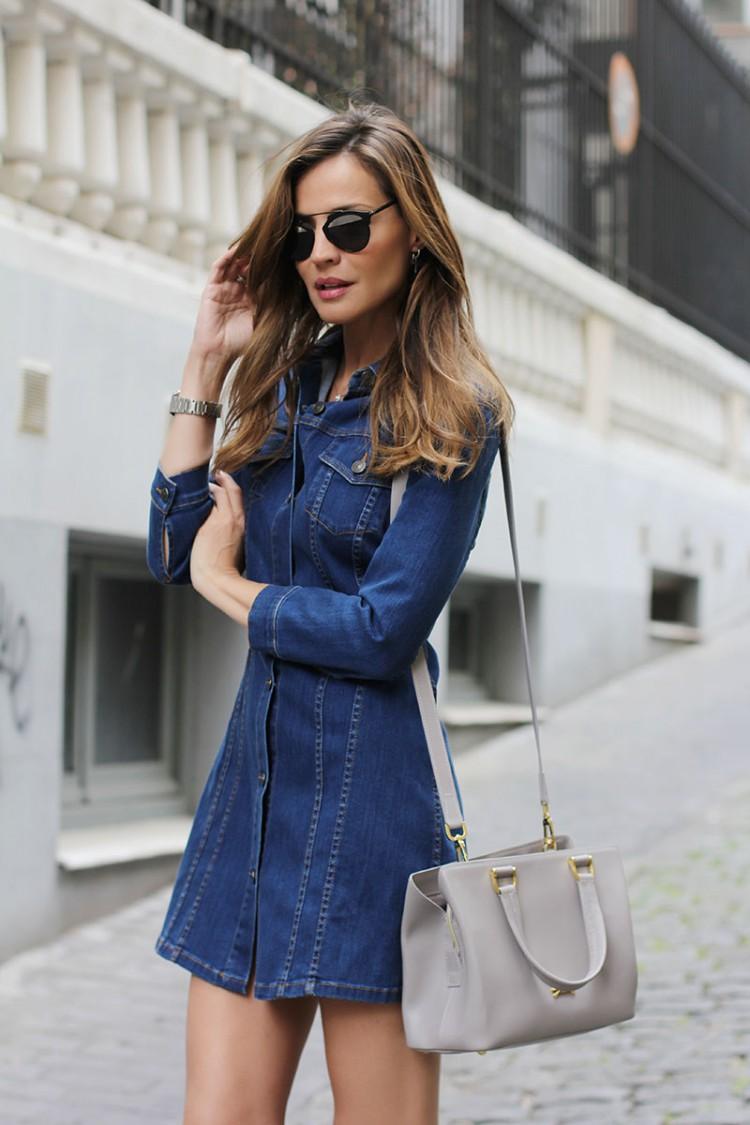denim dress ladylike street style