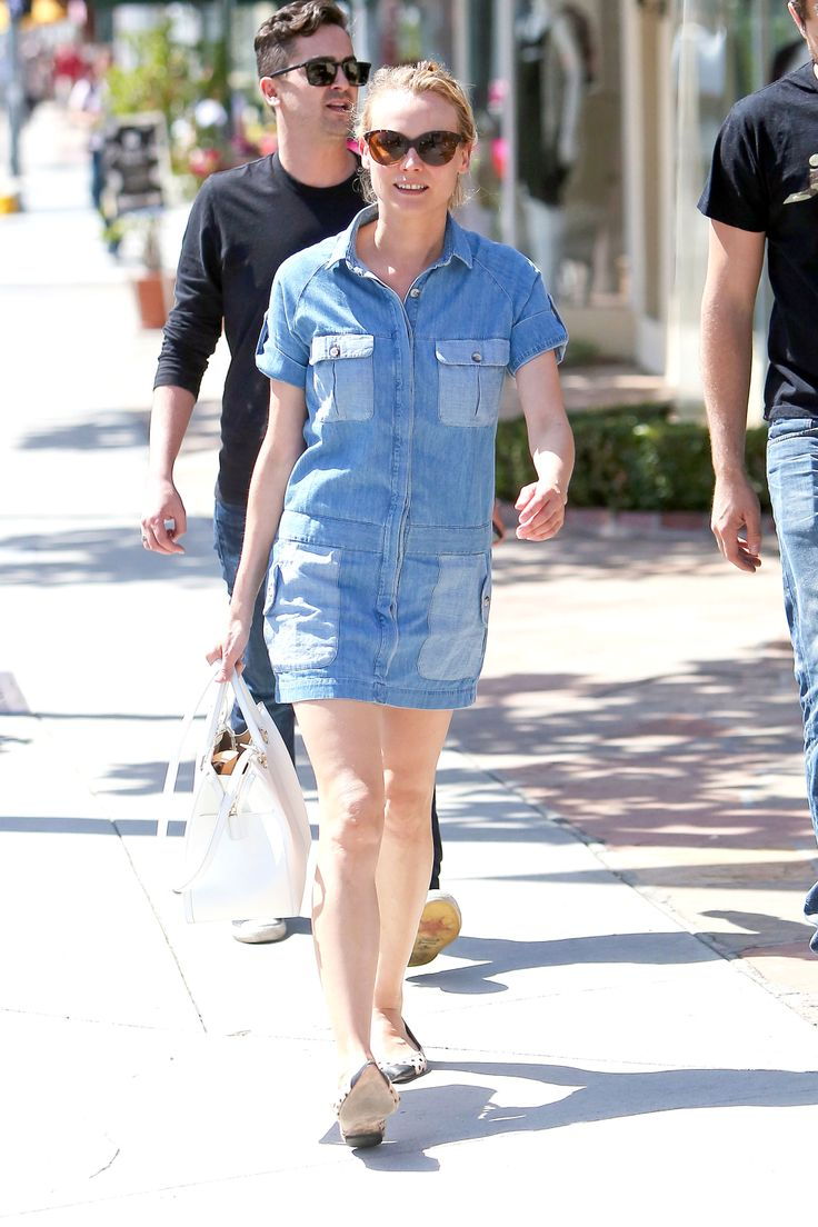denim dress straight line street style diane kruger