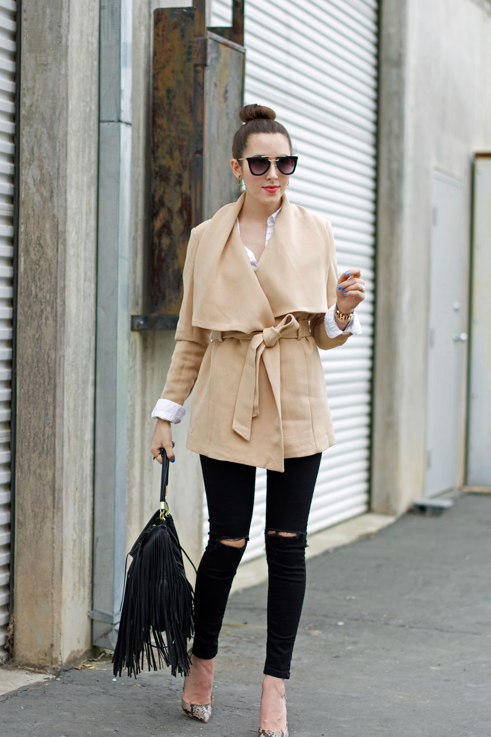 wrap coat neutral tone