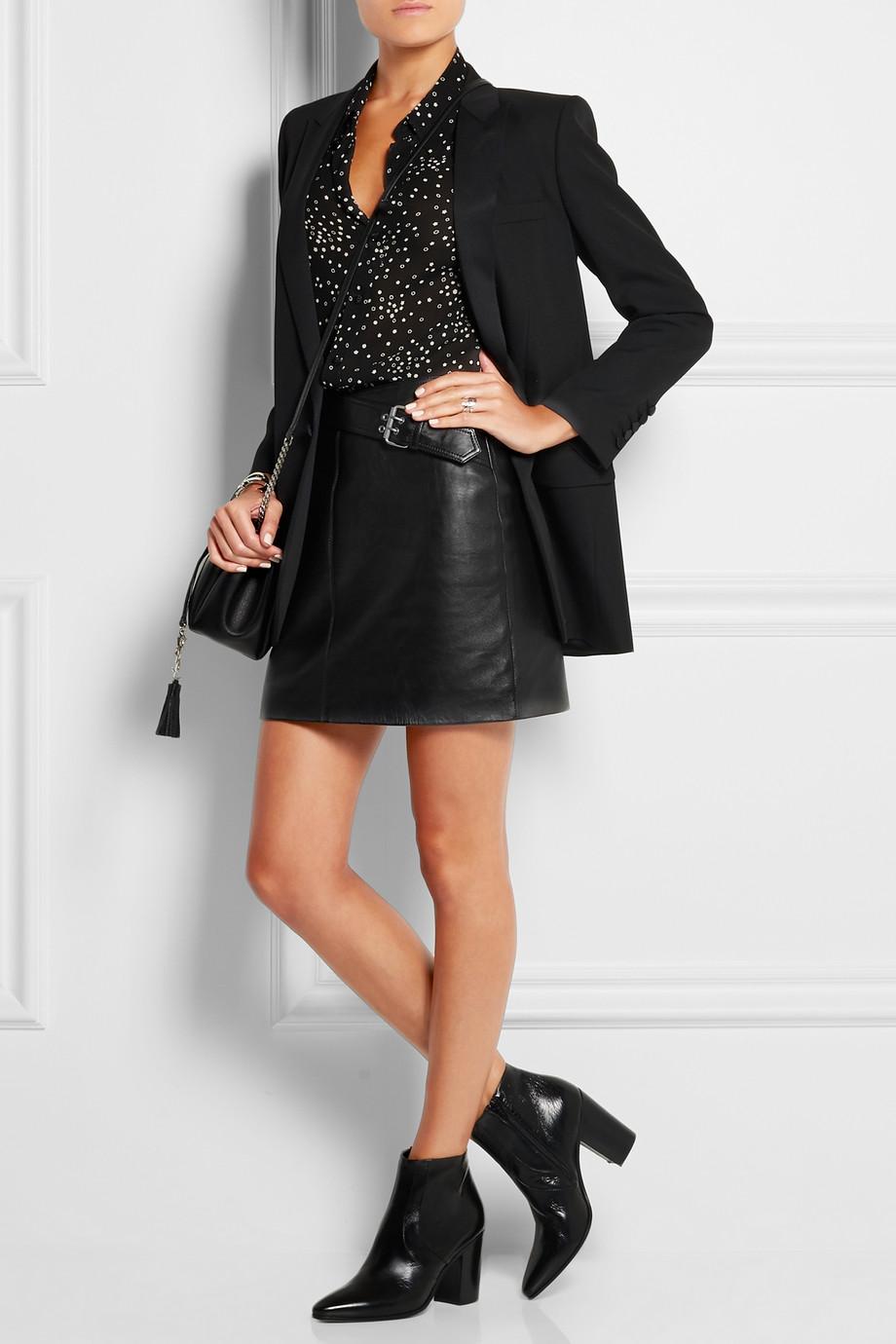 a boyfriend blazer and mini skirt