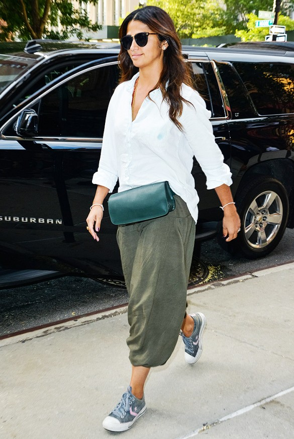 camila alves green army pants look