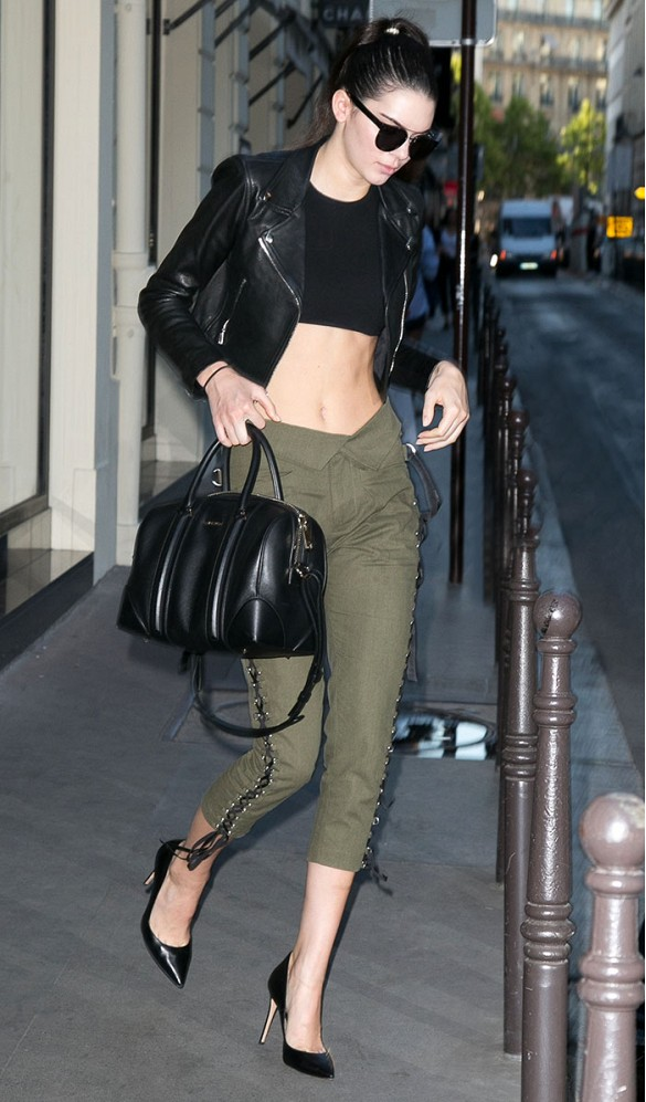 kendall jenner green army pants look