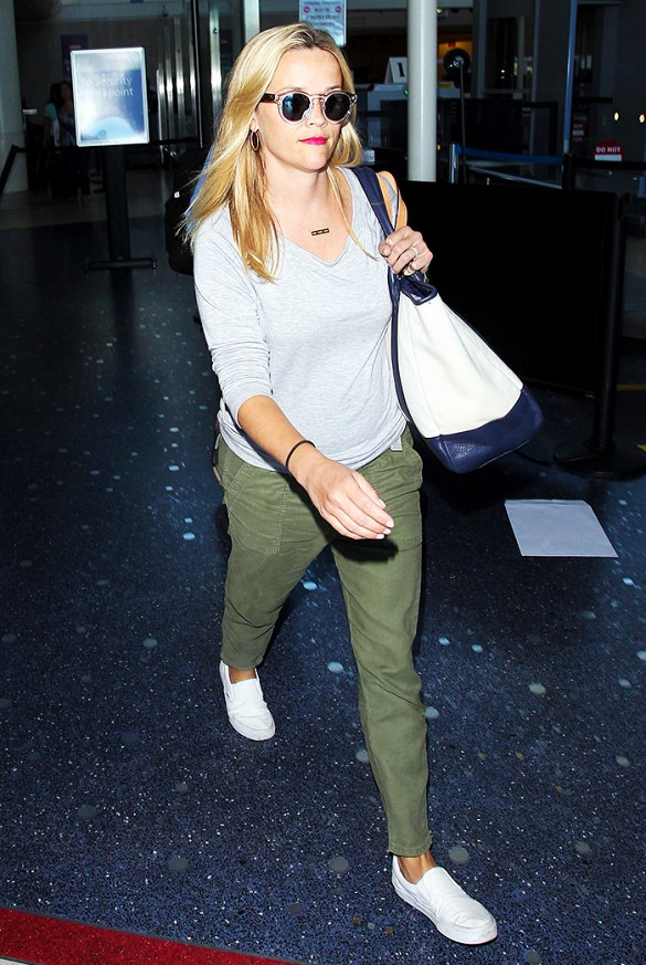 reese witherspoon green army pants trend