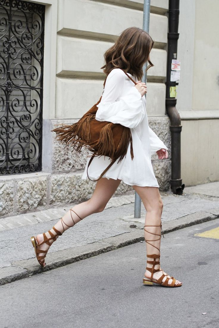 lace up gladiators and dress look 1