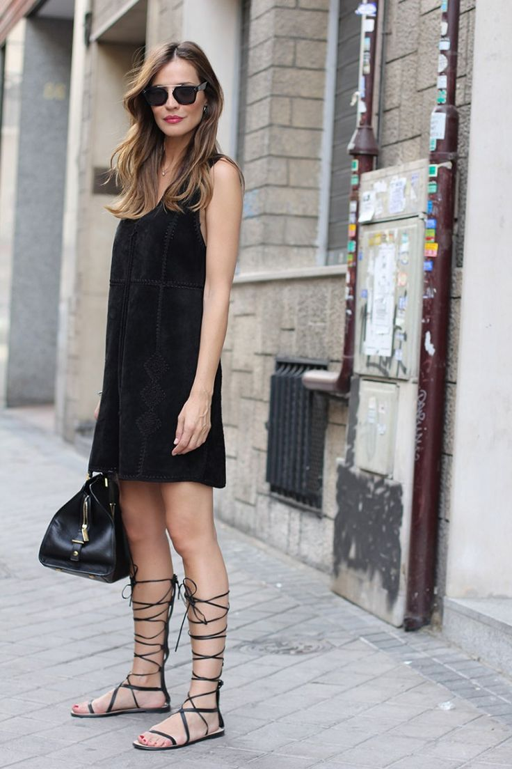 lace up gladiators and dress look 2