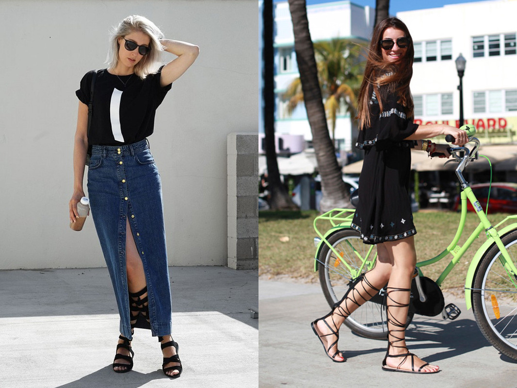 lace up gladiators and dress look 3