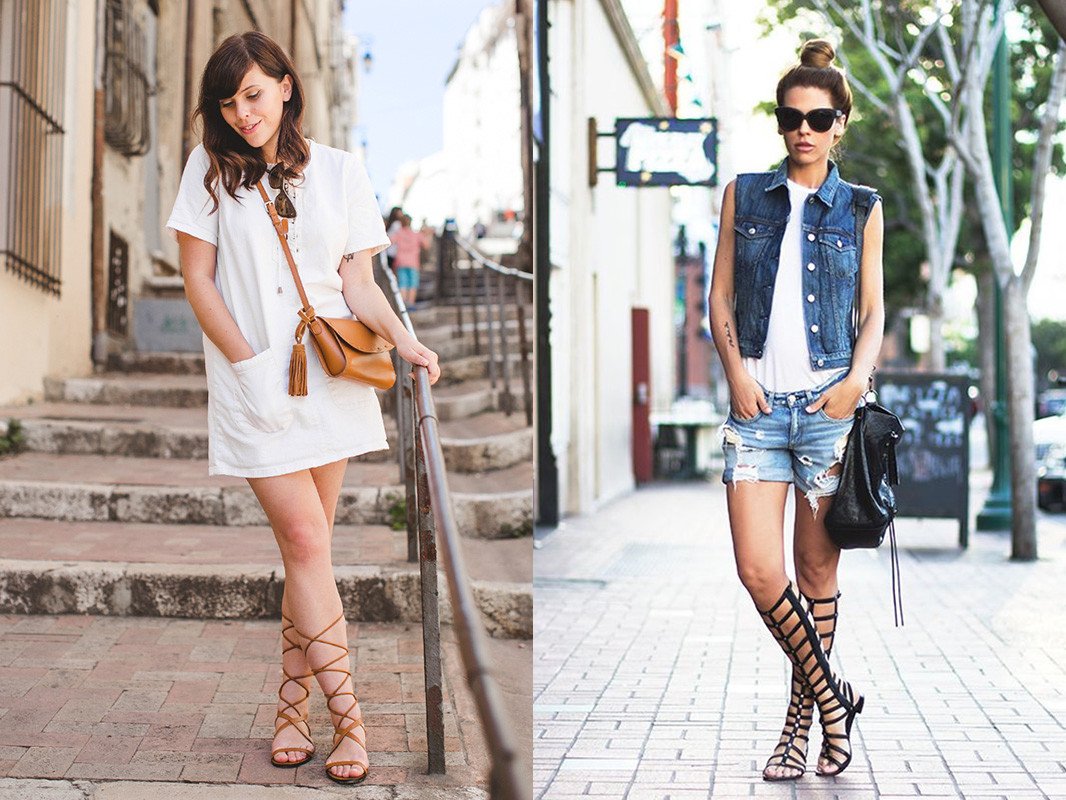 lace up gladiators and dress look 4