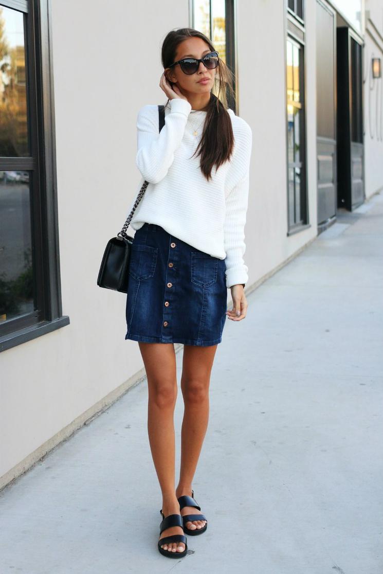 mid season skirt and sweater look 2