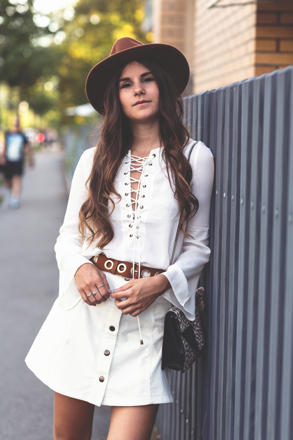 lace up blouse street style 4