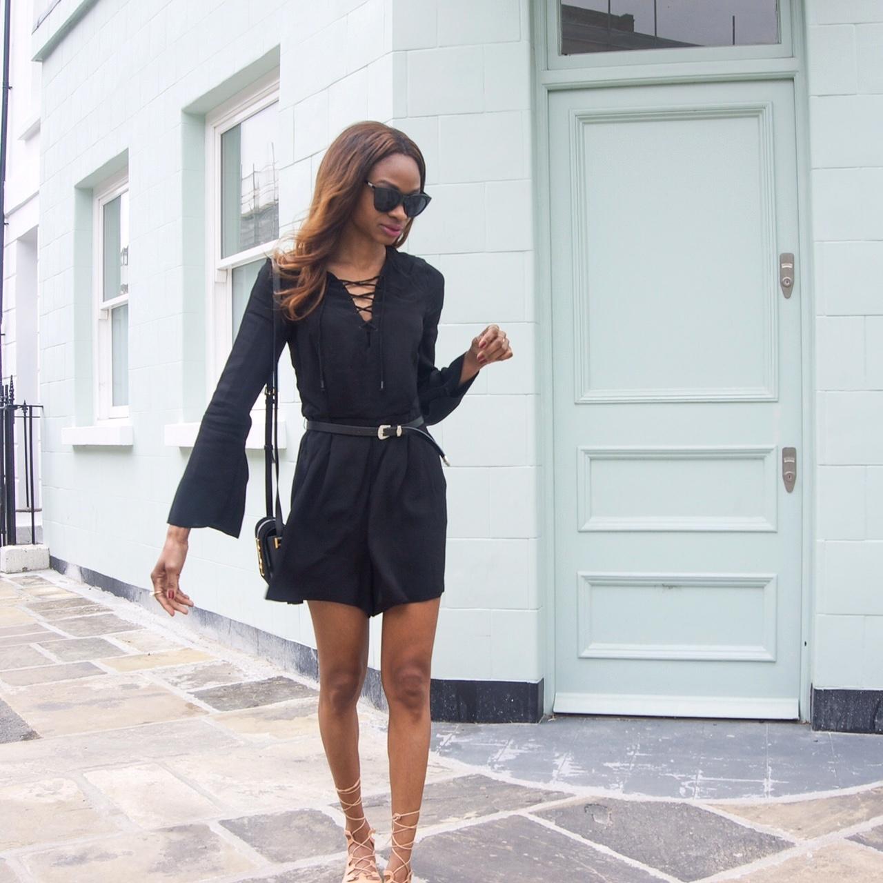 lace up dress street style 1