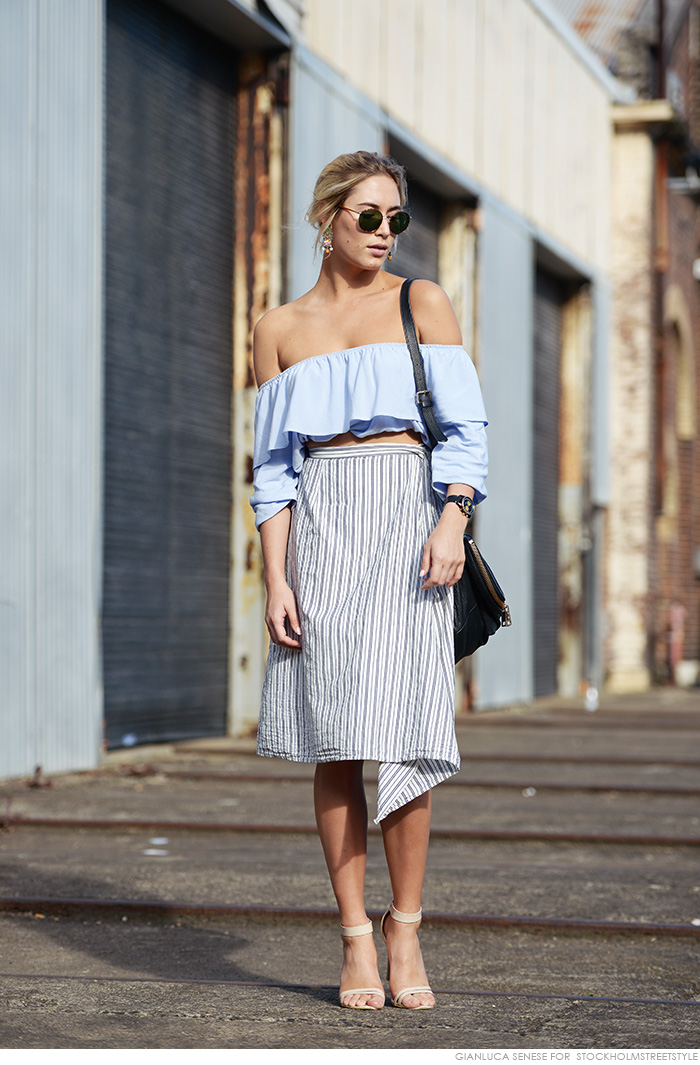 off shoulder and pencil skirt
