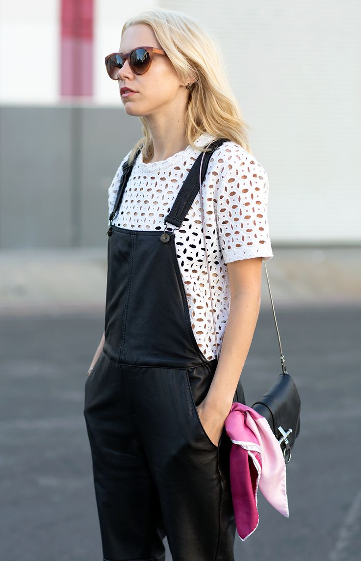 black overalls street style 7