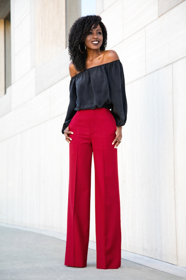 off shoulder+wide leg pants - 90's trend