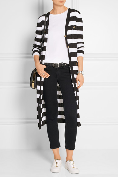 how to wear long striped cardigan