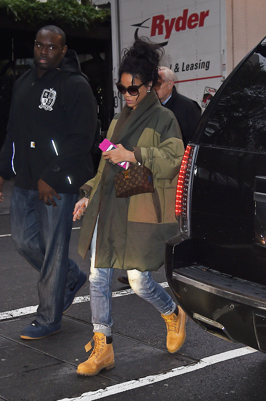 Rihanna arrives to an office building for a meeting in midtown, New York City