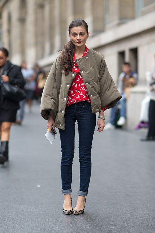 puffer jacket and jeans 1.j