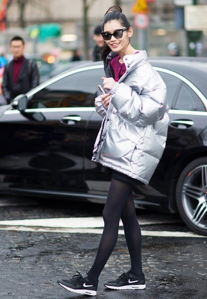 puffer jacket and skirt look 3