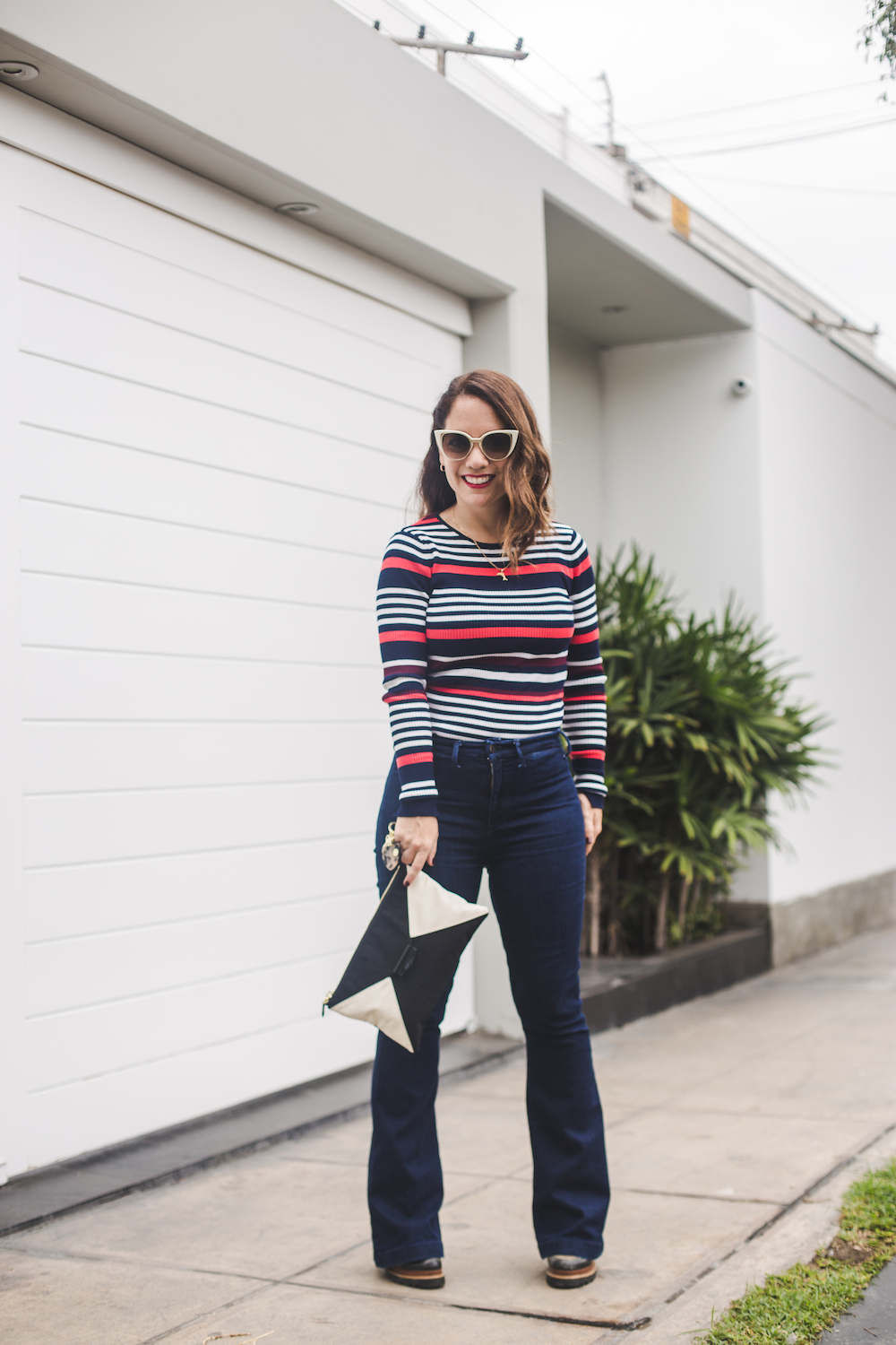 Zara 90's shirt striped - Gap wide leg jeans - Zapatos Lola - Kipling clutch - La Vida de Serendipity