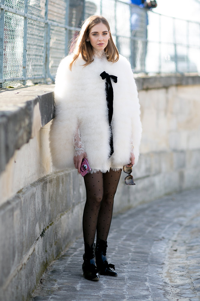 fuzzy-white-coat-sheer-tights-street-style chiara blonde salad tights