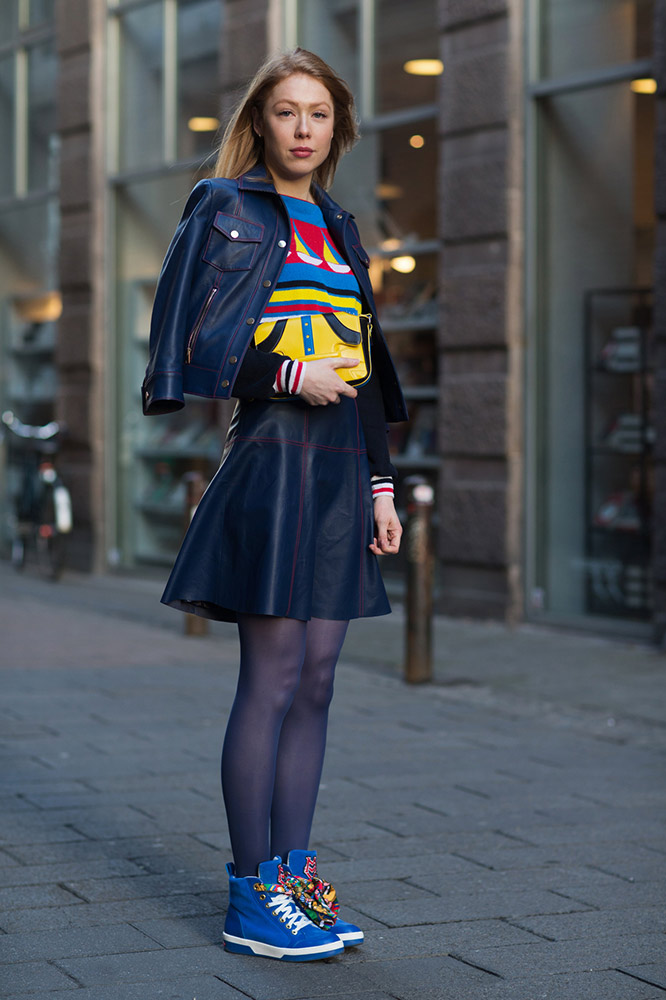 navy-jacket-skirt-sheer-tights-street-style